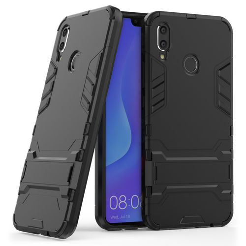 Slim Armour Tough Shockproof Case & Stand for Huawei Nova 3i - Black